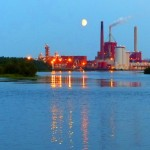 Industrial moon, nice background for our skinny dipping!